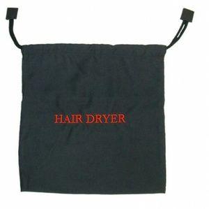 "New Hair Dryer Bag 12""x12"" Black Drawstring"